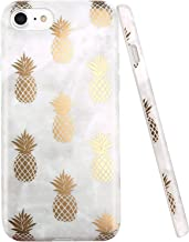 iPhone 7 Case, iPhone 8 Case, JAHOLAN Shiny Gold Pineapple Gray Marble Design Clear Bumper TPU Soft Rubber Silicone Cover Phone Case for Apple iPhone 7 / iPhone 8