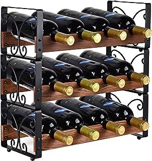 X-cosrack Rustic 3 Tier Stackable Wine Rack Freestanding 12 Bottles Organizer Holder Stand Countertop Liquor Storage Shelf Solid Wood & Iron 16.5