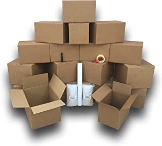 uBoxes 1 Room Basic Moving Kit, 18 Boxes, 24 feet Bubble, 3 lbs Paper and 110 yards Tape