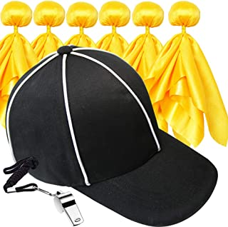 Six Senses Media 6 Penalty Flag Football Flags, 1 Referee Hat Black with White, 1 Referee Stainless Steel Whistle with Lan...