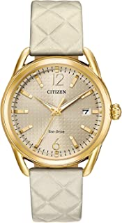 Women's 'Drive' Quartz Stainless Steel and Leather Casual Watch, Color:White (Model: FE6082-08P)