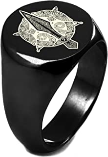 Sterling Silver Gungnir Odin's Spear Viking Norse Symbol Round Flat Top Polished Ring