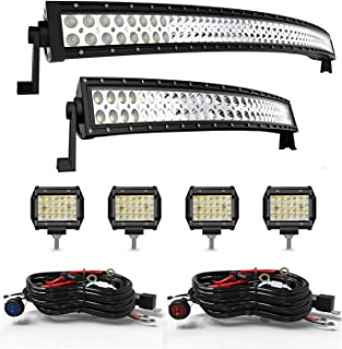 Led Light Bar Kit TURBO SII 54 Inch Curved Led Bar + 32 Inch Curved Light Bars Offroad Lights + 4PCS 4in 72W LED Pods Driving Fog Lights W/Switch Wiring Harness for Trucks Jeep Ford Polaris Boat