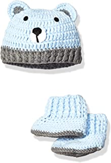 Baby Boys' Toddler Crochet Hat and Booties Box Set