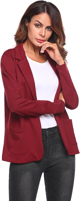 Bifast Women's Solid Long Sleeve Open Front Slim Fit Casual Blazer Jacket