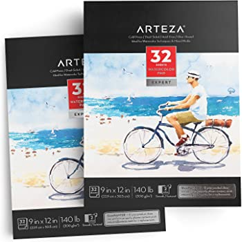 """Arteza 9x12"""" Expert Watercolor Pad, Pack of 2, 64 Sheets (140lb/300gsm), Cold Pressed, Acid Free Paper, 32 Sheets Each, Ideal for Watercolor Techniques and Mixed Media"""