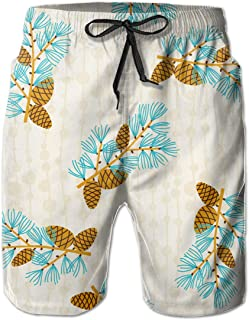 FASUWAVE Mens Swim Trunks Tree Branch with Squirrel Quick Dry Beach Board Shorts with Mesh Lining