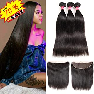 Brazilian Straight Hair 3 Bundles With Frontal Closure 13×4 Ear To Ear Lace Frontal With Bundles 100% Unprocessed Virgin Human Hair Extensions Weave Natural Color (10 12 14 +10 Frontal)