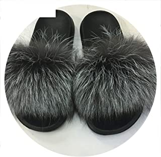 dff444943 Summer Women Fox Fur Slippers Real Fox Hair Slides Female Furry Indoor  Slippers Casual Beach Sandals