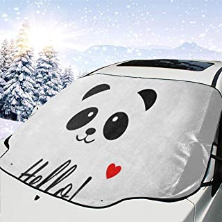 Cute Hello Panda Car Windshield Snow Cover,Waterproof Frost Guard Winter Windshield Snow Ice Cover with Side Mirror Covers,Windproof Summer Windshield Sun Shade Fits Most Cars,SUVs,Minivans 58 x 46.5
