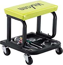 WAHSON OFFICE CHAIRS Mechanic Roller Seat for Garage with Three Divisions Tool Tray Yellow Pneumatic Tire Repair Stool Creeper Chair