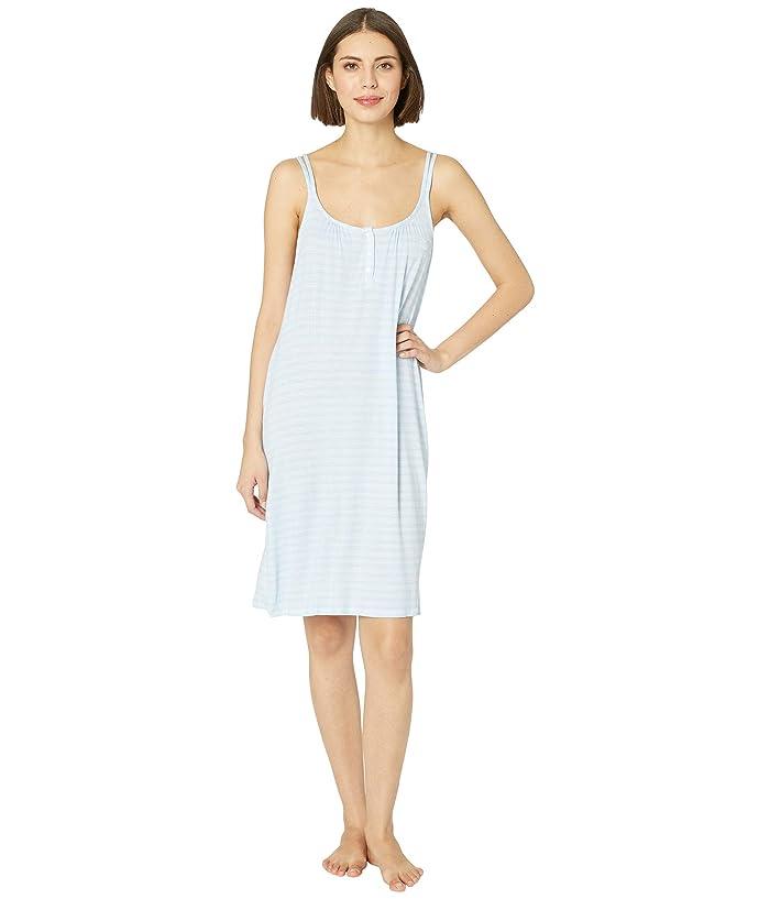 LAUREN Ralph Lauren Knit Double Strap Button Nightgown (Blue Stripe) Women