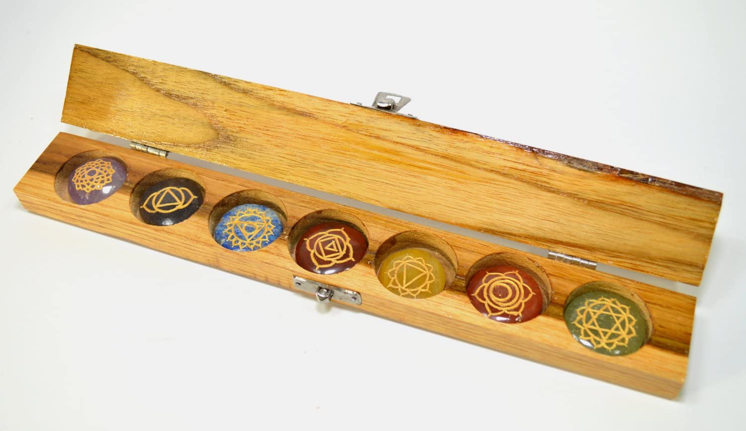Sanskrit Ranking TOP2 Engraved All stores are sold Chakra Crystal Disc Set Chak Wooden in Box
