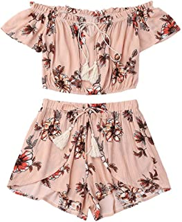 4882bf02d7a WILLTOO Women s Off Shoulder Short Sleeve Chiffon Floral Print Crop Top and Shorts  Set Jumpsuit