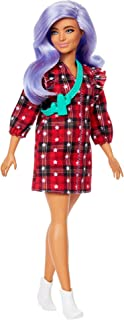 Barbie Fashionistas Doll #157, Curvy with Lavender Hair Wearing Red Plaid Dress, White Cowboy Boots & Teal Cross-Body Cact...