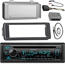 Kenwood Stereo CD Receiver Radio - Bundle with Installation Dash Kit, Handle Bar Control Module, Weathershield Cover, Enrock Wire Antenna for 1998 2013 Harley Touring Motorcycle Bikes