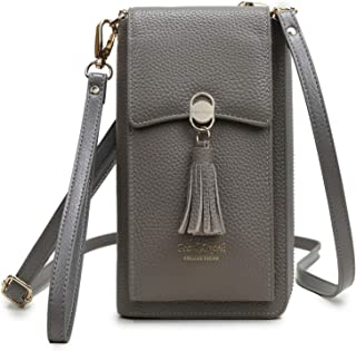 Genuine Leather Crossbody Bag for Women RFID Blocking Phone Wallet Purse with Credit Card Holders Grey