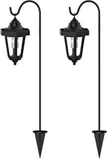"""Pure Garden Solar Powered Lights-Set of 2, 32"""" Hanging Coach Lanterns with 2 Shepherd Hooks-LED Outdoor Lighting for Gardens, Pathways, and Patio"""
