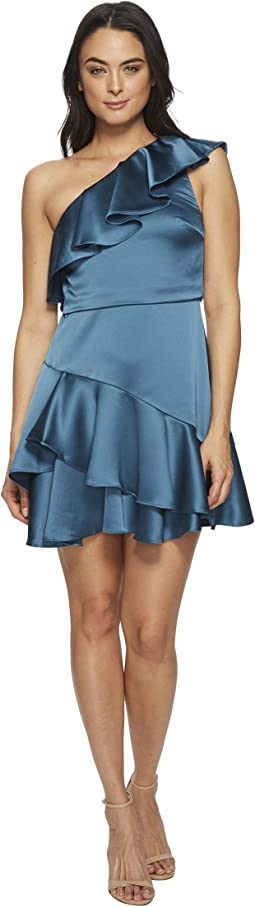 Halston Heritage - One Shoulder Flounce Dress