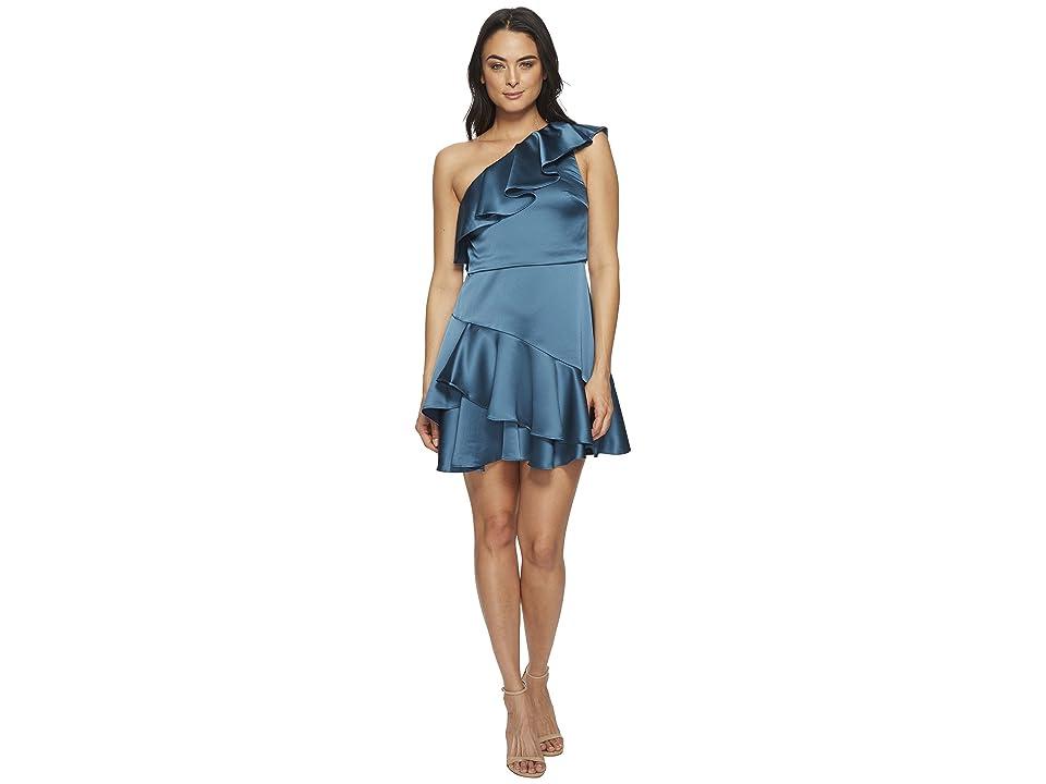 59579e384 Halston Heritage One Shoulder Flounce Dress (Peacock) Women