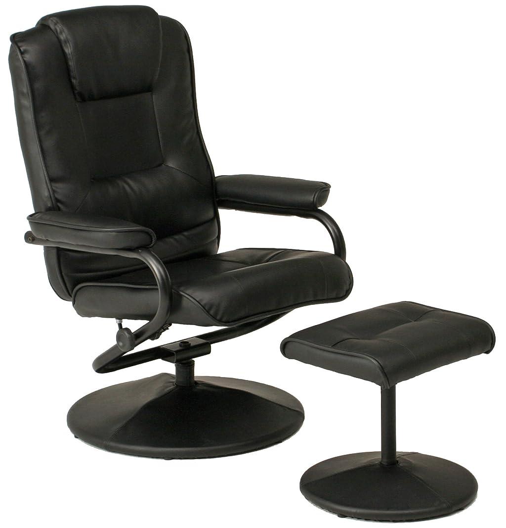 不二貿易 オフィスチェア デスクチェア ブラック オットマン付き 無段階リクライニング PVC 合皮 84425
