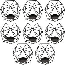 MagiDeal Wire Iron Hollow Geometric Pillar Candle Holder CAGE Lantern Wedding Decoration 8-Set - Black