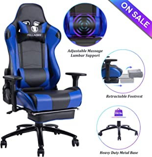 Blue Whale Massage Gaming Chair - Big and Tall 350lbs High Back Racing Computer Desk Office Chair Swivel Ergonomic Executive Leather Chair with Footrest and Adjustable Armrests (8280Blue)