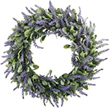 "GTidea 16"" Artificial Lavender Wreaths Flowers Arrangements Front Door Wall Home DIY.."