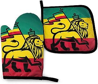 Wenxiupin León con una bandera de Rastafari Manoplas y agarraderas para barbacoa, hogar y cocina, guantes antideslizantes para cocinar, cómodos y resistentes al calor para cocinar al horno