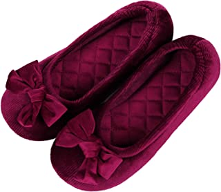 Evshine Women's Ballerina Slippers Lightweight Cute Bow House Slippers with Stretchable Heel Design