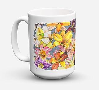 Caroline's Treasures 8892CM15 Day Lilies Dishwasher Safe Microwavable Ceramic Coffee Mug, 15 oz, Multicolor