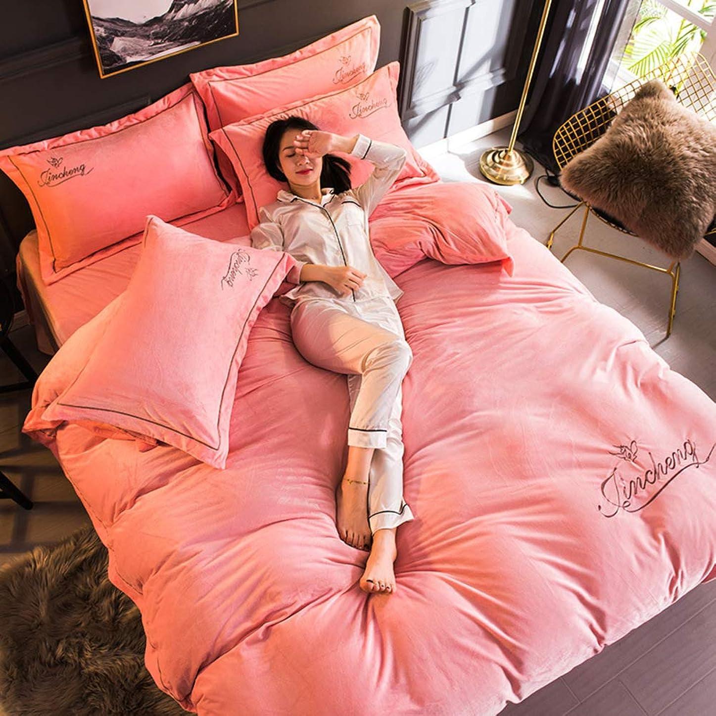 瞑想する生まれ降ろすファイバー ベルベット 布団カバー, フランネル 単色 寝具コレクション 厚く 暖かい 掛け布団カバー ベッド シート 4%-ピンク 220x240cm(87x94inch)