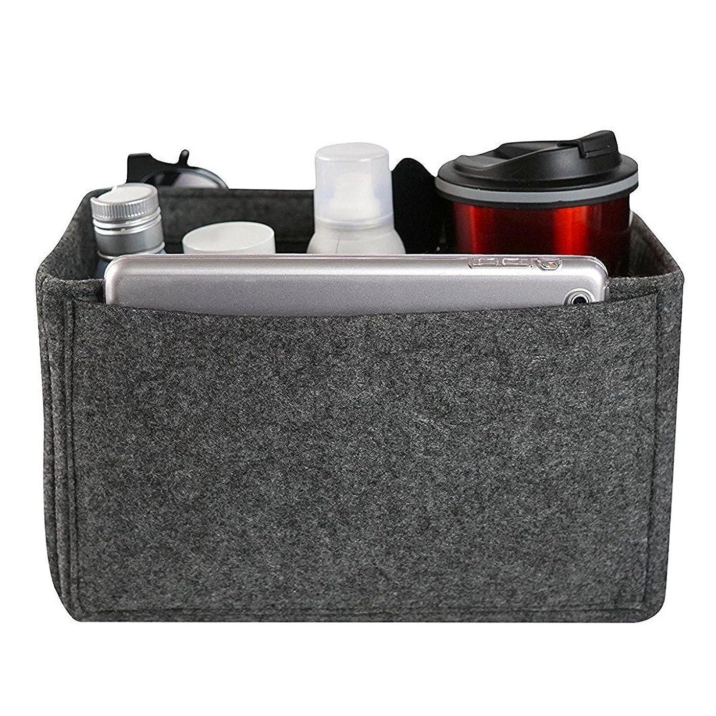 白い講師見る人YZUEYT フェルトインサートバッグマルチポケット化粧品ハンドバッグ財布オーガナイザーホルダーメイクアップトラベルジッパー YZUEYT (Color : Color dark gray, Size : XL)