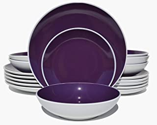 HomeVss Two-tone 18 Piece Stoneware Dinner Set, Outside Semi Matte White + Inside Shiny Purple