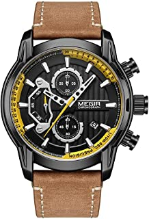 Classic Fashion Quartz Watches for Men Elegant Chronograph Watch Casual Sport Leather Band Mens...
