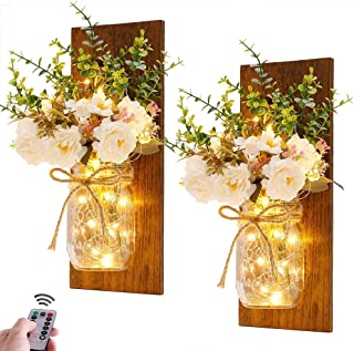 Rustic Wall Sconces Mason Jar Sconces Handmade Wall Art Hanging Design with Remote Control Fairy Lights and White Peony, F...