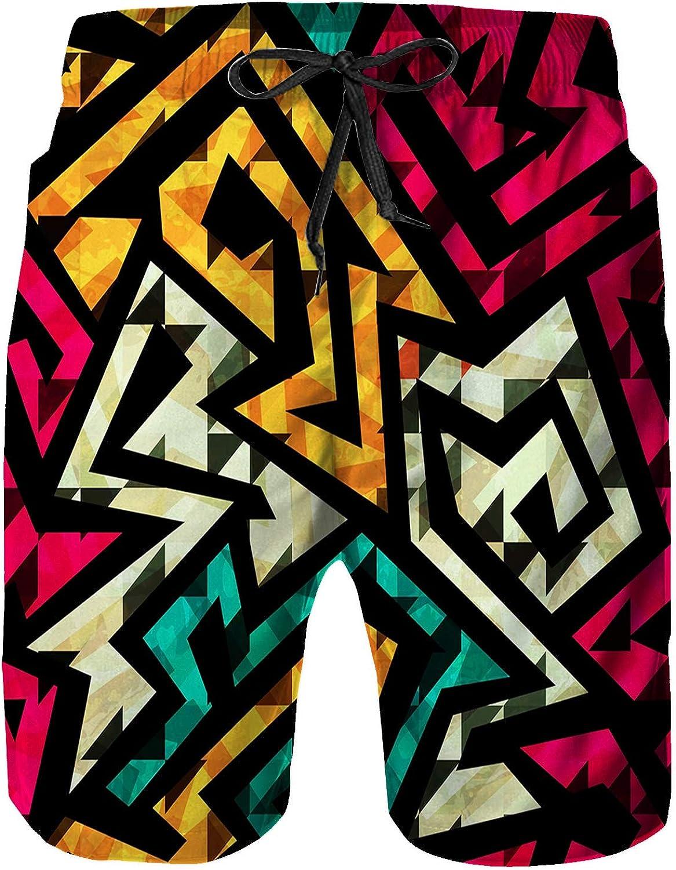 Amextrian Mens Printed Shorts Pants,Beach Shorts,Quick Dry Beach Board Swim Trunks