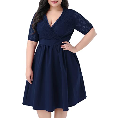 Navy Plus Size Dress: Amazon.com