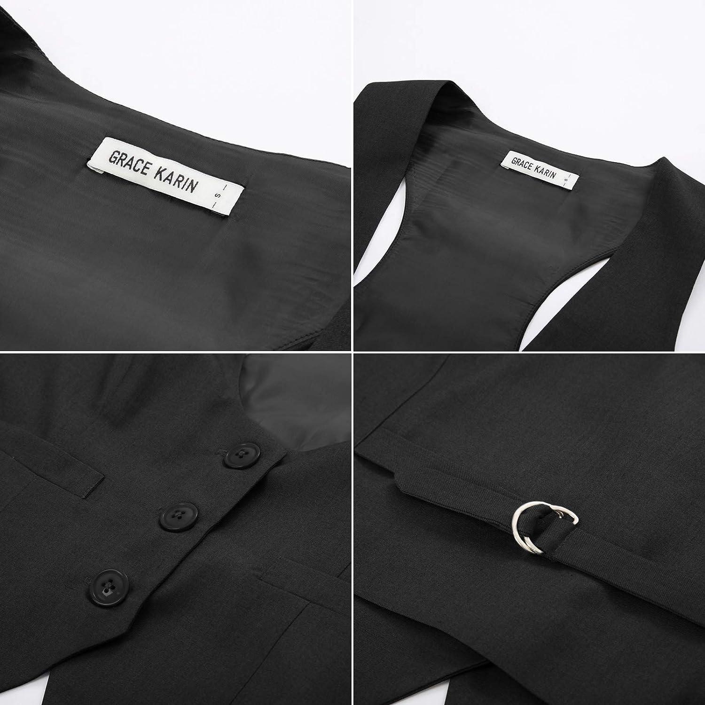 GRACE KARIN Womens Waistcoat Vest Vintage Steampunk Dress Racerback Jacquard Jacket