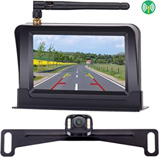 ZSMJ Wireless Backup Camera System with 5 Inch Mirror Monitor for Cars/SUV/Mini Vans HD Color Night Vision Rear/Front View Camera IP68 Waterproof Camera Guide Lines On/Off