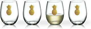 Luminarc Arc International Aloha Gold Pineapple Bulk Perfection Glass (Set of 6), 17 oz, Clear