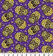 University of Louisiana LSU Cotton Fabric Sugar Skull Design-Newest Pattern-LSU Tigers Cotton Fabric