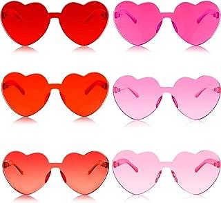 6 Pairs Heart Shape Sunglasses Transparent Sunglasses Tinted Eyewear Rimless Glasses