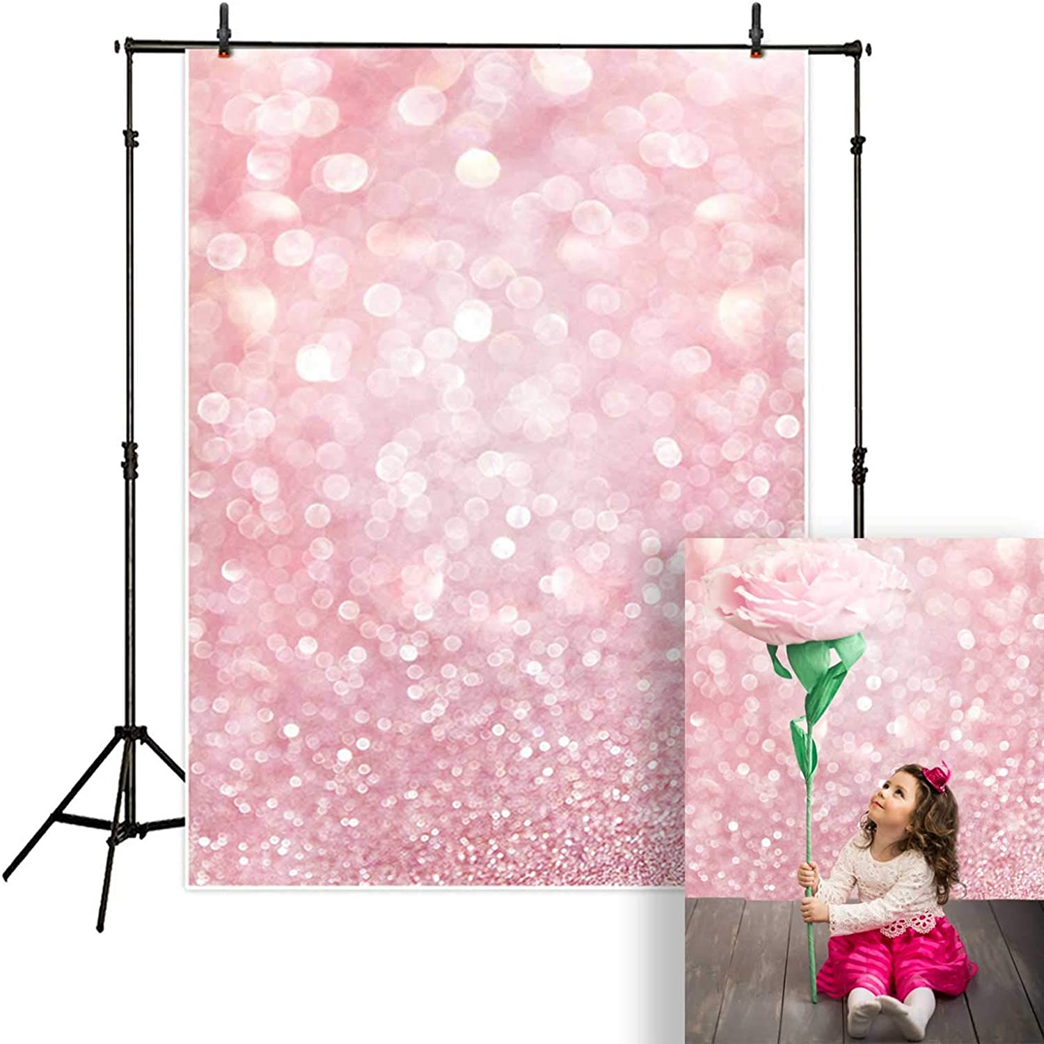 Funnytree 10x8FT Red Magic Christmas Photography Backdrop Winter Party Decoration Bokeh White Snowflake Background Photo Booth