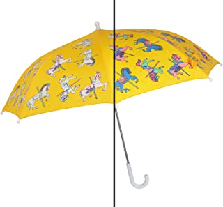 Color Changing Umbrella for Kids - Rain Umbrella for Girls - Carousel Horse - Waterproof, Anti-UV, Lightweight Stick Umbrella for Outdoor with Easy to Open Slide Feature
