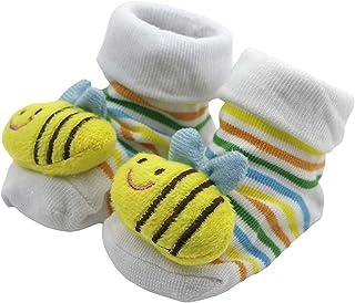 Drawihi, drawihi 3d Bootie calcetín calcetines de algodón niños bebé Niños calcetines de rayas 5pieces/lot antideslizante 0–12meses estilo abejas