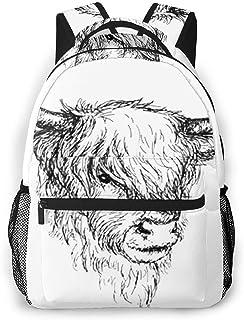 Mochila Tipo Casual Mochila Escolares Mochilas Estilo Impermeable para Viaje De Ordenador Portátil hasta 14 Pulgadas Highland Rural Hairy