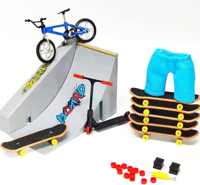 Finger Skatepark, diapasón, mini diapasón Skate Park, Skate Skate Boarding Ultimate Sport Training Props juguete para niños, mini scooter + pantalones + zapatos