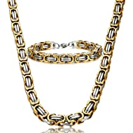Jstyle Stainless Steel Male Chain Necklace Byzantine Bracelet for Men Jewelry Sets 8.5 Inch 22 24...