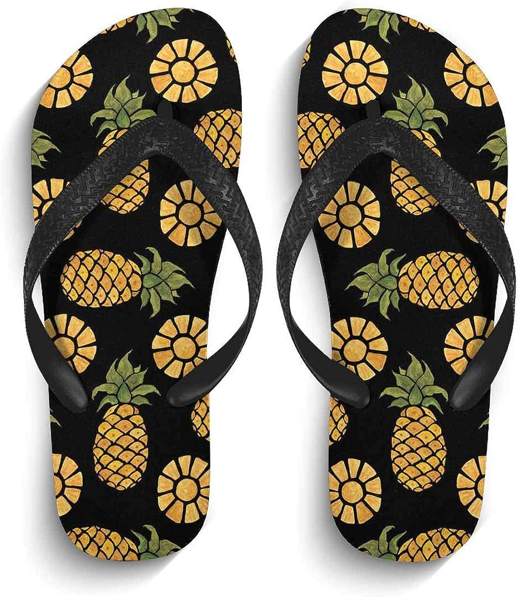 INTERESTPRINT Non-Slip Flip Flops Black Straps Summer Tropical Lilies and Flowers and Pomegranates Summer Beach Thong Sandal for Men
